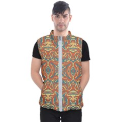 Multicolored Abstract Ornate Pattern Men s Puffer Vest