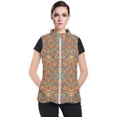 Multicolored Abstract Ornate Pattern Women s Puffer Vest