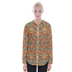Multicolored Abstract Ornate Pattern Womens Long Sleeve Shirt