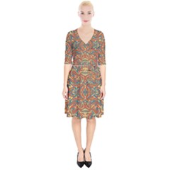 Multicolored Abstract Ornate Pattern Wrap Up Cocktail Dress