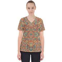 Multicolored Abstract Ornate Pattern Scrub Top