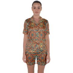 Multicolored Abstract Ornate Pattern Satin Short Sleeve Pyjamas Set