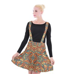 Multicolored Abstract Ornate Pattern Suspender Skater Skirt