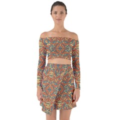 Multicolored Abstract Ornate Pattern Off Shoulder Top With Skirt Set