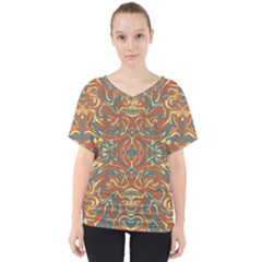 Multicolored Abstract Ornate Pattern V Neck Dolman Drape Top