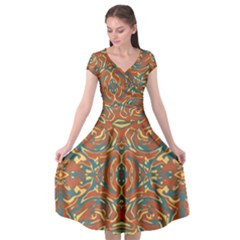 Multicolored Abstract Ornate Pattern Cap Sleeve Wrap Front Dress
