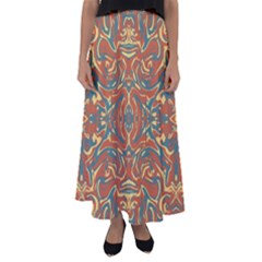 Multicolored Abstract Ornate Pattern Flared Maxi Skirt