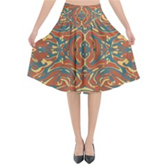 Multicolored Abstract Ornate Pattern Flared Midi Skirt