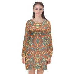 Multicolored Abstract Ornate Pattern Long Sleeve Chiffon Shift Dress