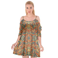 Multicolored Abstract Ornate Pattern Cutout Spaghetti Strap Chiffon Dress