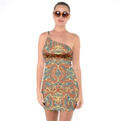 Multicolored Abstract Ornate Pattern One Soulder Bodycon Dress