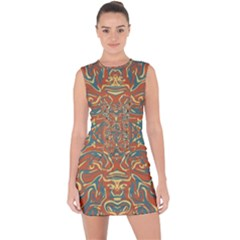 Multicolored Abstract Ornate Pattern Lace Up Front Bodycon Dress