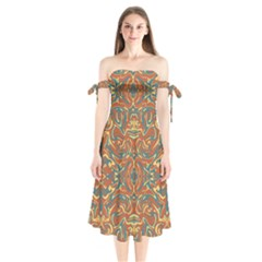 Multicolored Abstract Ornate Pattern Shoulder Tie Bardot Midi Dress