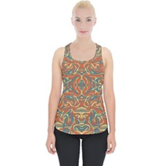 Multicolored Abstract Ornate Pattern Piece Up Tank Top