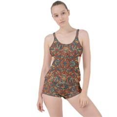 Multicolored Abstract Ornate Pattern Boyleg Tankini Set
