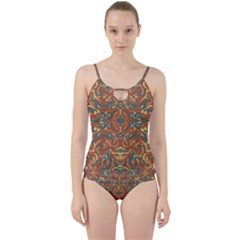Multicolored Abstract Ornate Pattern Cut Out Top Tankini Set