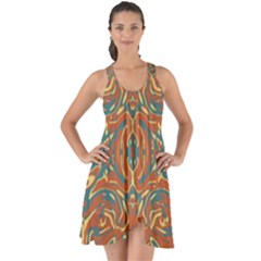 Multicolored Abstract Ornate Pattern Show Some Back Chiffon Dress