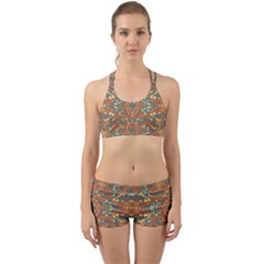 Multicolored Abstract Ornate Pattern Back Web Sports Bra Set