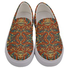 Multicolored Abstract Ornate Pattern Men s Canvas Slip Ons