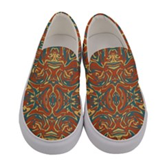 Multicolored Abstract Ornate Pattern Women s Canvas Slip Ons