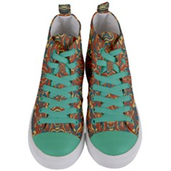 Multicolored Abstract Ornate Pattern Women s Mid Top Canvas Sneakers