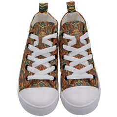 Multicolored Abstract Ornate Pattern Kid s Mid Top Canvas Sneakers