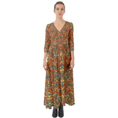 Multicolored Abstract Ornate Pattern Button Up Boho Maxi Dress