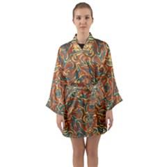 Multicolored Abstract Ornate Pattern Long Sleeve Kimono Robe