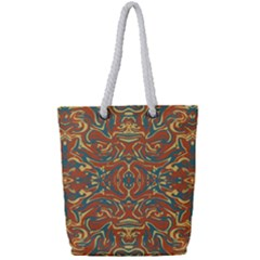 Multicolored Abstract Ornate Pattern Full Print Rope Handle Tote (small)
