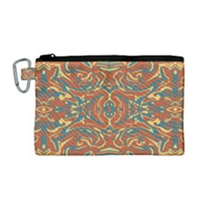 Multicolored Abstract Ornate Pattern Canvas Cosmetic Bag (medium)