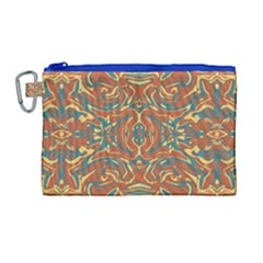 Multicolored Abstract Ornate Pattern Canvas Cosmetic Bag (large)