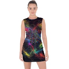Background Light Glow Abstract Art Lace Up Front Bodycon Dress