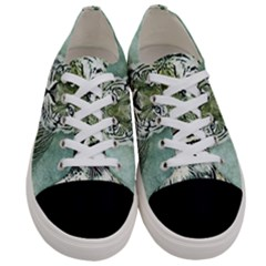 Tiger Cat Art Abstract Vintage Women s Low Top Canvas Sneakers