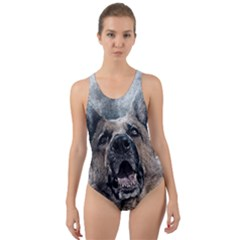 Dog Pet Art Abstract Vintage Cut Out Back One Piece Swimsuit