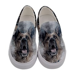Dog Pet Art Abstract Vintage Women s Canvas Slip Ons