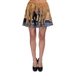 Elephants Animal Art Abstract Skater Skirt