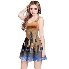 Elephants Animal Art Abstract Reversible Sleeveless Dress