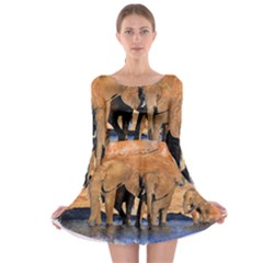Elephants Animal Art Abstract Long Sleeve Skater Dress