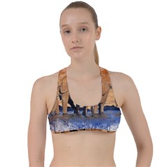 Elephants Animal Art Abstract Criss Cross Racerback Sports Bra