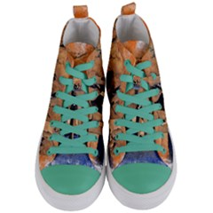 Elephants Animal Art Abstract Women s Mid Top Canvas Sneakers