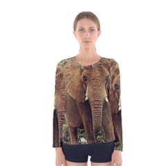 Elephant Animal Art Abstract Women s Long Sleeve Tee