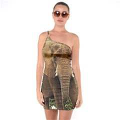 Elephant Animal Art Abstract One Soulder Bodycon Dress