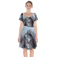 Cat Pet Art Abstract Vintage Short Sleeve Bardot Dress