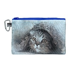Cat Pet Art Abstract Vintage Canvas Cosmetic Bag (large)