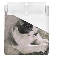 Cat Pet Art Abstract Vintage Duvet Cover (queen Size)