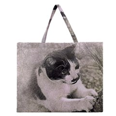 Cat Pet Art Abstract Vintage Zipper Large Tote Bag
