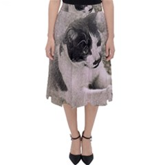 Cat Pet Art Abstract Vintage Folding Skater Skirt