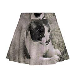 Cat Pet Art Abstract Vintage Mini Flare Skirt