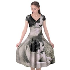 Cat Pet Art Abstract Vintage Cap Sleeve Wrap Front Dress