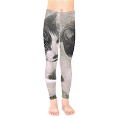 Cat Pet Art Abstract Vintage Kids  Legging